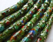Vintage Japanese Confetti Glass Beads  - Confetti on Green Glass - 20x4mm - Rare Old Beads - Qty 5 pcs