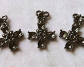 3 Small Rosary Crosses with Settings for Rhinestones - 27mm  - Beautiful High Quality Black Metal Castings