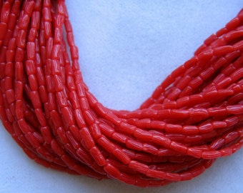 SALE - 3 Strands Red Coral Beads - 4x2mm - TINY Rice Shape - Smooth, Silky, Delicate - Fine Quality