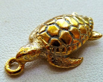 Small SEA TURTLE Charms, Drops, Dangles - 22x13mm -  Bright Gold Tone - Qty 10 pcs