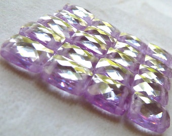 Lavender Cubic Zirconia 2 Hole Rectangle Beads - 8x10x4mm - Faceted Gorgeous Multi Strand Beads - Qty 3 pcs