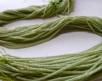Jade Heishi Beads - Jade Tube Beads - 3x2mm - Hand Cut Tiny Unpolished Afghan Beads - Genuine Natural