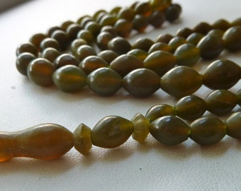 "Vintage Jade Beads - 8x6mm to 12x8mm Oval -  Rustic 36"" Hand Cut Beads from Afghanistan"