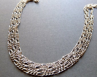 Long Short Fancy Chain Link - 3x2mm - Light Dainty Thin Delicate Silver Plated Silver Lacquered Chain - Qty 3 feet