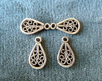 2 Small Sterling Silver Filigree Paddle Charms, Drops, Dangles  -  Pear Shape -  11x16mm