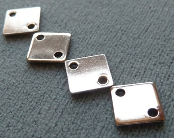 1/4 inch Metal Stamping Blanks - 2 Hole Connectors -  8mm Square, 10mm Diamond - Qty 12 Pcs