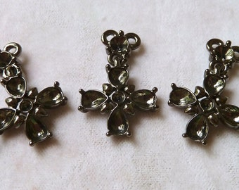 Small Rosary Cross Blanks with Settings for Rhinestones - 27mm - Beautiful High Quality Black Metal Vintage Castings - Qty 3 pcs