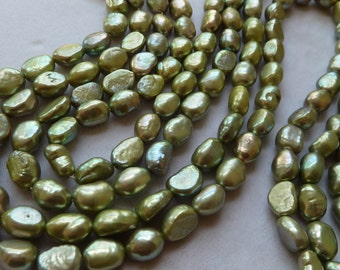 Full Strand Sage Green Rice Nugget Pearls - 8mm