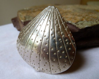 Large Sterling Silver Puffed Clam Shell Pendant Bead - 40mm - Double Sided - Thai Karen Hill Tribe Silver