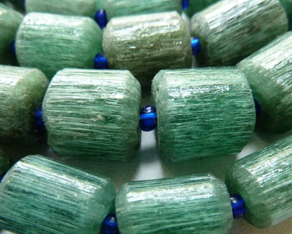 Ethnic Rustic Green Glass Beads Handmade by Afghan Craftsmen   Qty 3 pcs