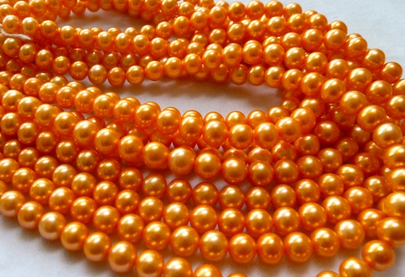 FULL STRAND - Orange Freshwater Pearls - 6-6.5mm - High Luster - Fine Quality