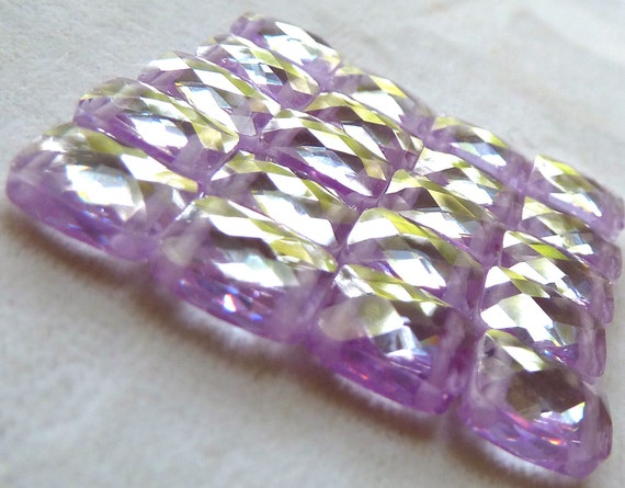 Lt Amethyst Cubic Zirconia CZ  2 Hole Beads - 8x10x4mm - Multi Strand Faceted Rectangle - GORGEOUS SPARKLE - Qty 3