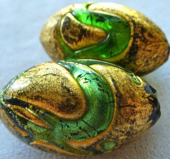 Large Venetian Murano Glass Bead - 25x14mm - Green, Black, Gold Foil - LAST 1