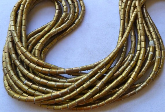 Antique African Brass Beads - 6x4mm Tube - 32 Inch Long Strand