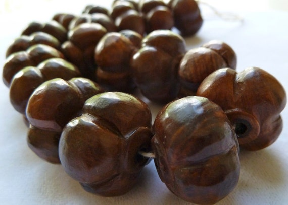 5 Carved Wood Beads - 15x20mm - Melon/Pumpkin -  High Quality - Chinese