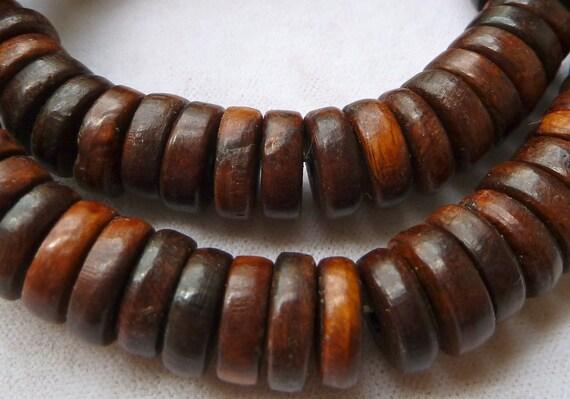 Natural Wood Rondell Disc Beads - 5x12m -  High Quality Chinese Ma-Li Wood - Qty 10 pcs