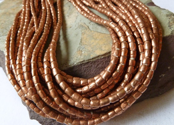 Full Strand - Antique African Copper Beads - 4x3mm Tube - 32 Inch Long Strand