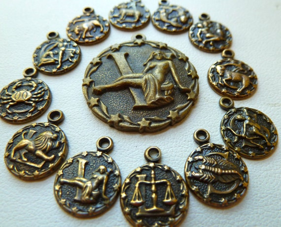 12 Zodiac Charms - 12 Birth Signs -  plus Virgo the Virgin Focal Pendant for August 23 to September 22 - Raised Detail - Qty 1 Set