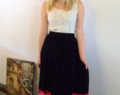 Vintage Hot Pink and Black Skirt XS S M