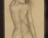 Original Nude Female Life Drawing Study