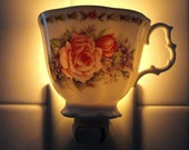 Tea and Roses How Romantic Even On A Nightlight Made From A China Tea Cup With Roses and Violets On It