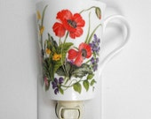 Nightlight Made From English Chine Mug, California Poppies With Wild Flowers, Cup Night Light