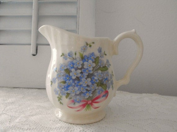 Lovely Blue Forget Me Nots Pattern on Creamer Made by Crownford Giftware Made In England