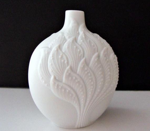 Vintage White Porcelain Bisque Kaiser Vase Signed M Frey