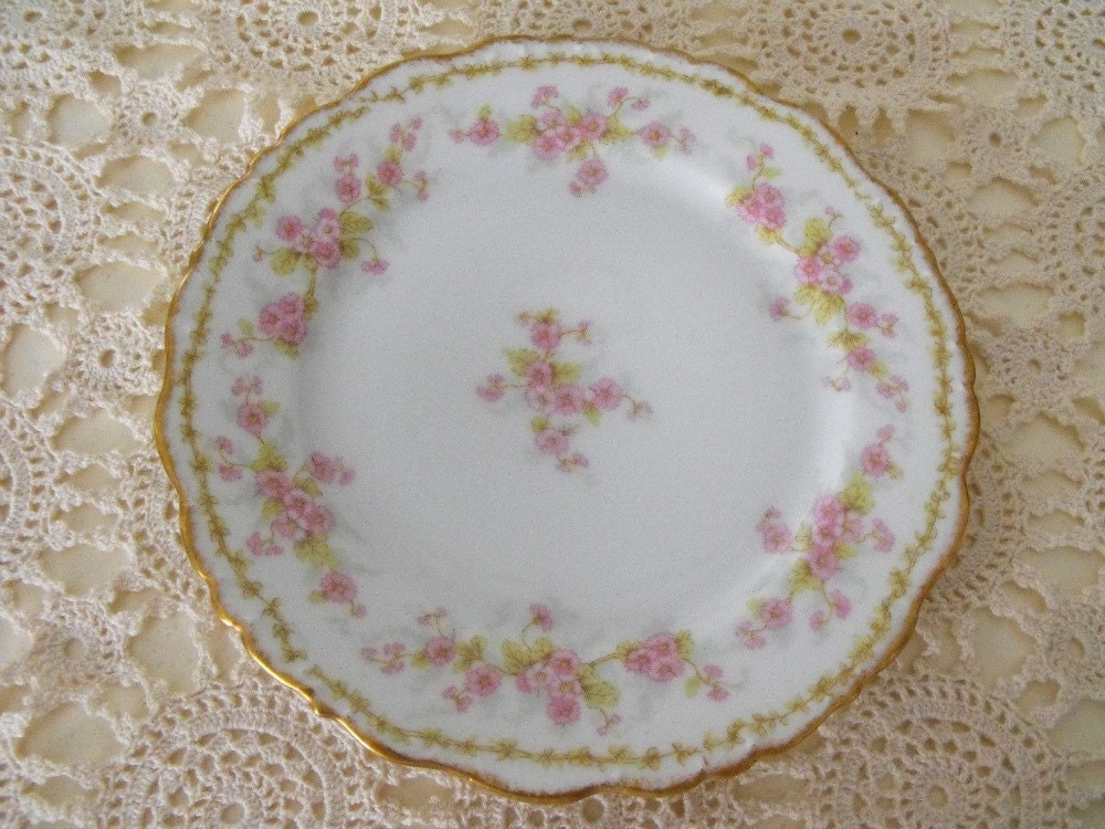 Set Of 6 Antique French Limoges Porcelain Dinner Plates By