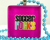Soccer Necklace Soccer Jewelry Sports Soccer Rocks Pink Fuschia Colorful with Free Colored Chain and Gift Bag Only 5 Dollars