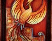 "Original Art Print ""Fiery Phoenix"" 16x20"