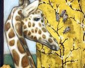 "Animal Art - Art Prints - Fine Art Print - Giraffe Art Print - ""Giraffe Bees"" 16x20"