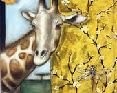 "Animal Art - Art Prints - Fine Art Print - Giraffe Art Print - ""Giraffe Dragonfly"" 16x20"