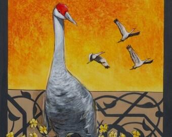 Crane Art Print 11x14