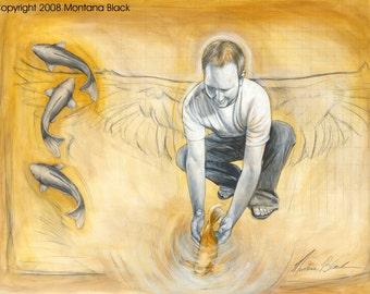 """Angel / Koi Art Print  """"Jonathan"""" 11x14"""