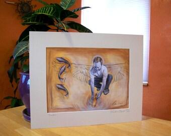 """Angel With Koi Art Print -  """"Jonathan"""" 16x20 Matted Print"""