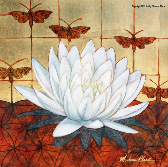 Lotus in Moth Garden Original Painting by Montana Black