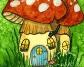 Original Watercolor Painting - ACEO Art Card - Fantasy Art Mushroom House Whimsical Art - Mushome