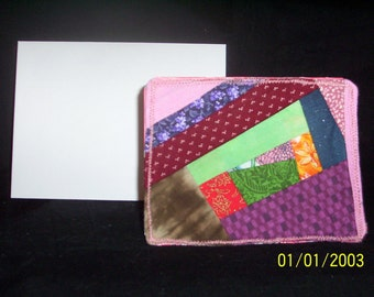 Fabric Crazy Patch Block Blank  All Occasion Greeting/Note Card