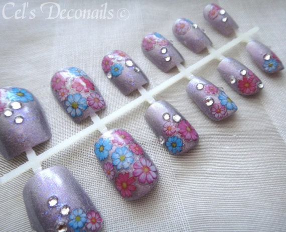 Holographic flower garden Japanese style deco nails