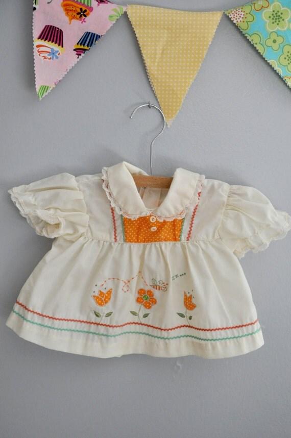 orange and cream shirt/dress
