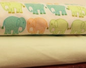 Bliss By Valori Wells, Elephant March and Solid Light Green Flannel Blanket Bundle, 2 Yards