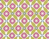 Purple and Green Geometric Fabric, Secret Garden By Sandi Henderson for Michael Miller, Modern Meadow Print in Green Tea, 1 Yard