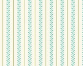 Cream and Teal Stripe Fabric, Verona by Emily Taylor for Riley Blake, Stripe Print in Teal, 1 Yard