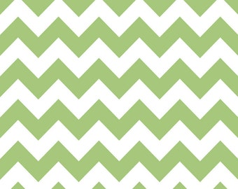Green and White Chevron Cotton for Riley Blake, 1 Yard