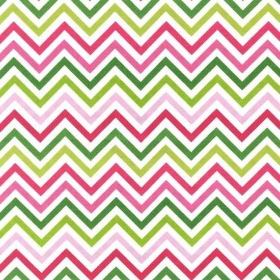 Robert Kaufman Remix Zig Zag in Pink and Green, 1 Yard