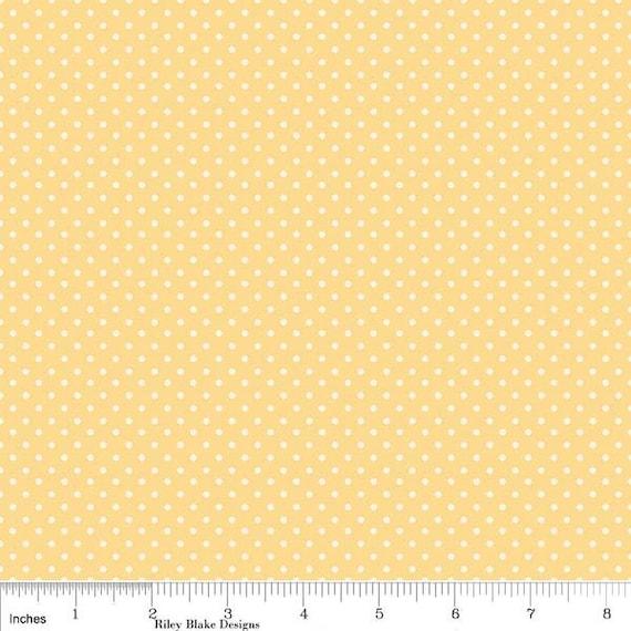 DayDream from Riley Blake, Polka Dot Print in Yellow and Cream, 1 Yard