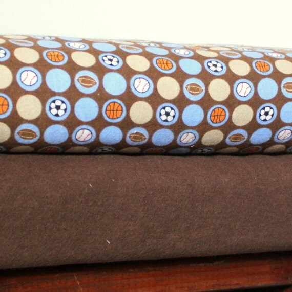 All About Sports Brown Ball Flannel Blanket Bundle, 1 Yard