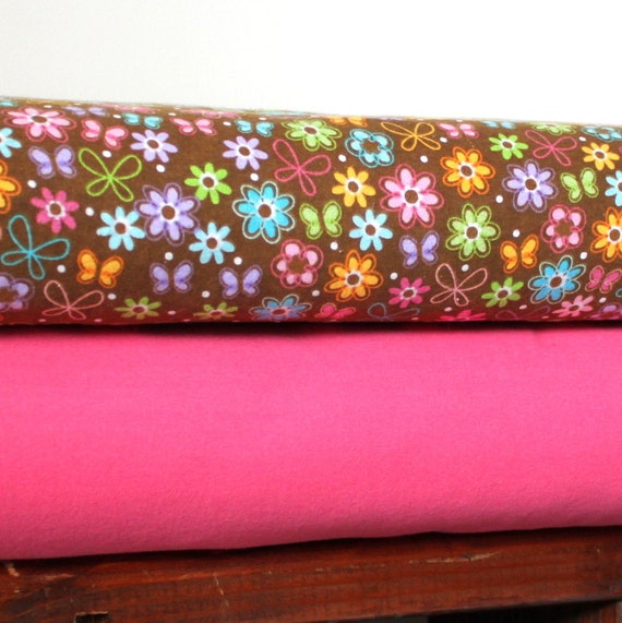 All A Flutter Butterfly and Flower Pink and Brown Flannel Blanket Bundle, 1 Yard