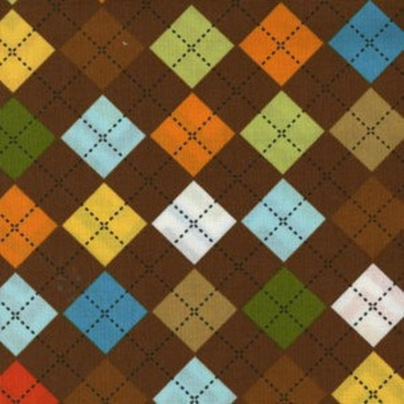 Robert Kaufman Remix Argyle in Chocolate Brown, 1 Yard